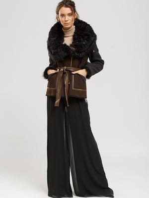 Куртка-дубленка коричнево-черная | 5629530