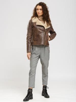 Куртка-дубленка коричневая с принтом   5629572