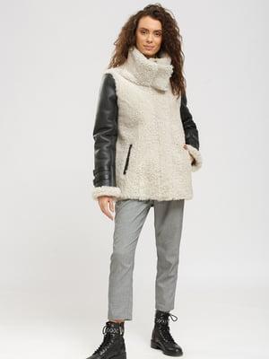 Куртка-дубленка серо-белая | 5629591