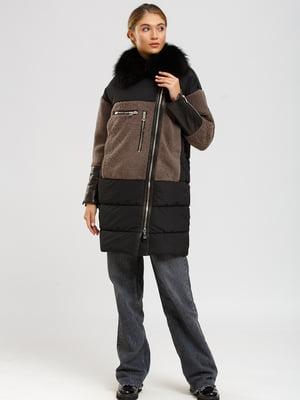 Куртка-дубленка черно-коричневая | 5629614
