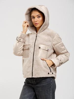 Куртка-дублянка бежевого кольору   5629654