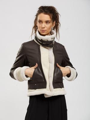 Куртка-дубленка коричнево-бежевая | 5629660