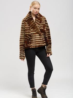 Дубленка-куртка двухсторонняя бежево-коричневая | 5629676