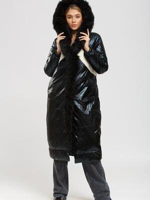 Пальто-дубленка черно-бежевое | 5629834