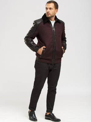 Куртка-дубленка черно-бордовая | 5629877
