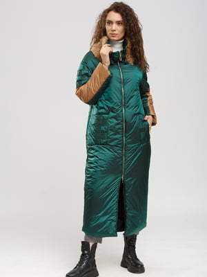 Пальто зелено-бежевое   5629891