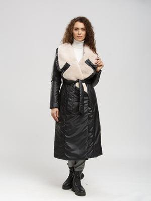 Пальто черно-бежевое   5629984