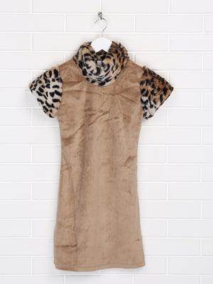 Платье бежевое с принтом | 5628675