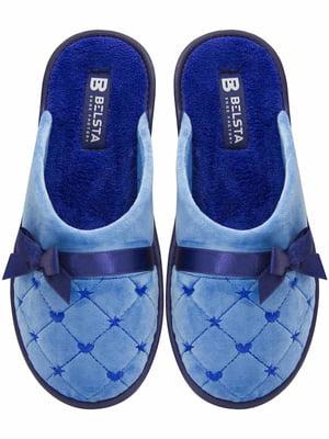 Тапочки голубые с декором   5631072