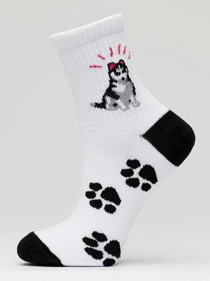 Носки бело-черные с рисунком | 5631225