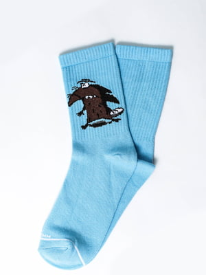 Носки голубые с рисунком | 5631310