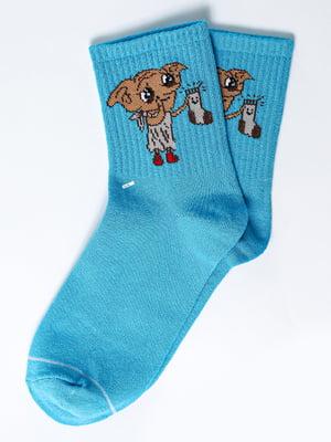 Носки голубые с рисунком | 5631333