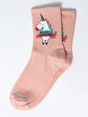 Шкарпетки рожеві з малюнком | 5631335