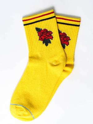 Шкарпетки жовті з малюнком | 5631345
