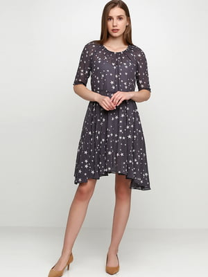 Сукня сіра в принт | 5631443