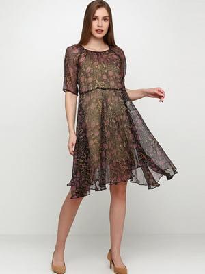 Сукня чорна в квітковий принт | 5631442