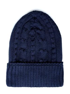 Шапка синя з візерунком | 5631648