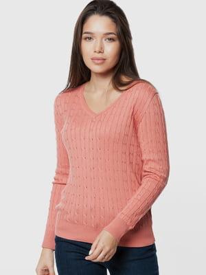 Пуловер кораллового цвета с узором | 5631679