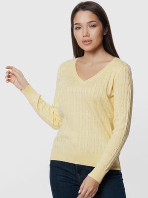 Пуловер желтый с узором | 5631680