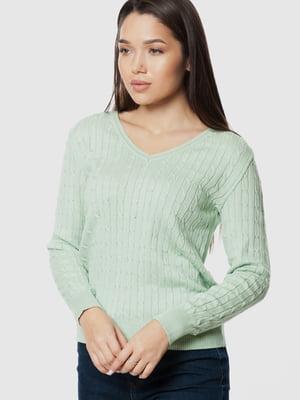 Пуловер салатового цвета с узором | 5631681