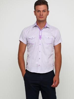 Рубашка бело-сиреневого цвета в полоску | 5631818