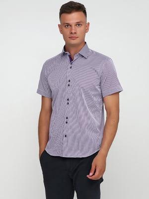 Рубашка бело-фиолетовая в полоску | 5631835