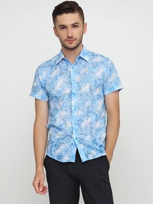 Сорочка блакитна в принт | 5631815