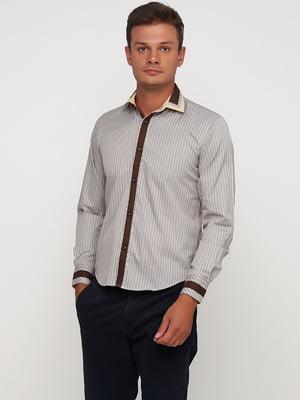 Сорочка біло-коричнева в смужку | 5631823