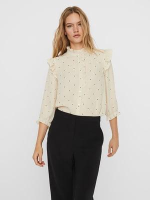 Блуза бежевая в горошек | 5618401