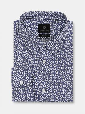 Сорочка синя в квітковий принт | 5633074