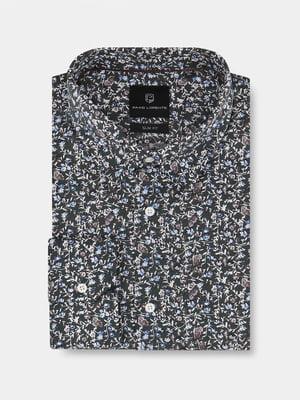 Сорочка чорна в квітковий принт | 5633075
