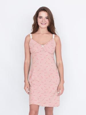 Рубашка ночная розовая в принт | 5633104
