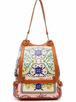 Рюкзак коричневый с декором | 5630145