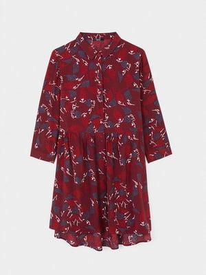 Платье бордовое в принт | 5634891