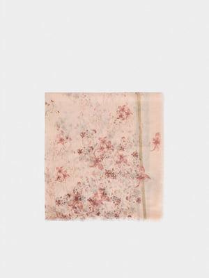 Шарф розовый в принт | 5635224