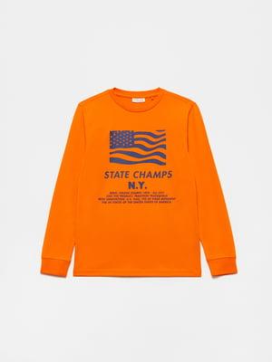 Лонгслив оранжевый с принтом | 5635318