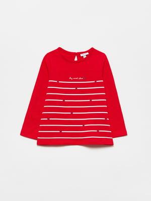 Лонгслив красный с принтом | 5635389