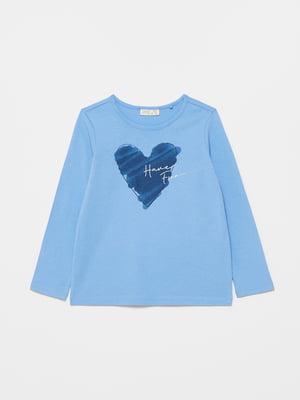 Лонгслив голубой с принтом | 5635419