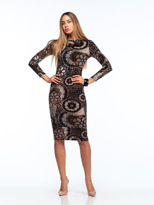 Платье коричневое в принт | 5635698