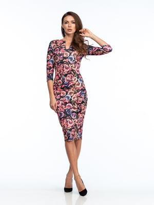 Платье розовое в цветочный принт | 5635701