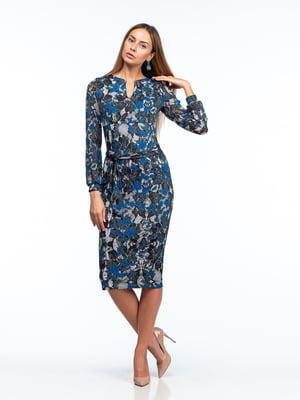 Платье серое в принт | 5635711