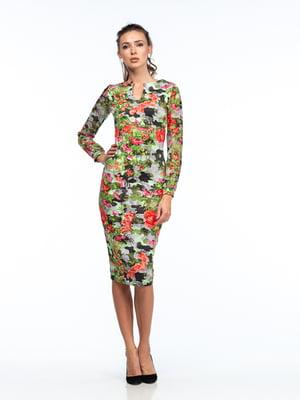 Платье разноцветное в принт | 5635713
