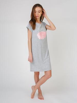 Платье домашнее серое с рисунком   5589270