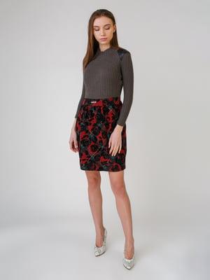 Сукня сіро-бордова з принтом | 5631543
