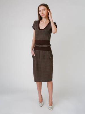 Сукня коричнева в клітинку | 5631542