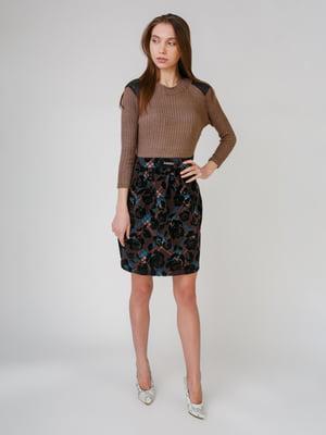 Сукня кавово-чорна в принт | 5631544