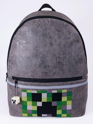 Рюкзак серый с принтом | 5636593
