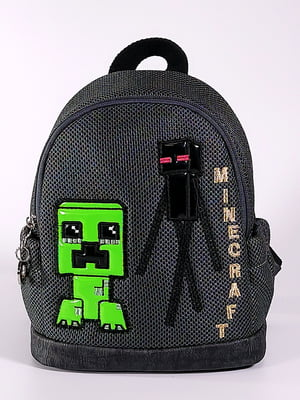 Рюкзак темно-серый с принтом | 5636596