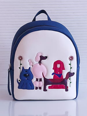 Рюкзак бело-синий с рисунком | 5636613