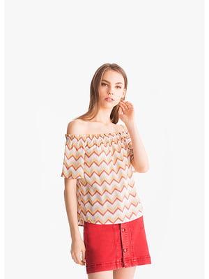 Блуза бежевая в полоску | 5521336